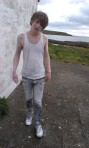 Connor covered in talcum powder at video shoot